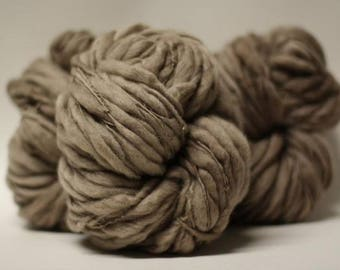 Thick and Thin Yarn Bulky Hand Spun Wool Slub  Hand Dyed Tts(tm) Smoke