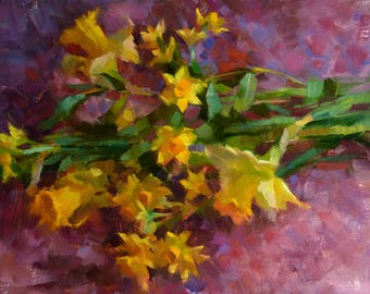 Narcissus and Daffodils - original oil painting, alla prima oil painting, one of a kind