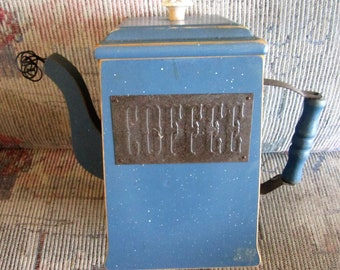 Vintage primitive wooden blue coffee canister