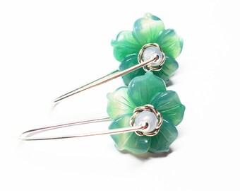Agate Gemstones, Sterling Silver Drop Earrings, Green and Gray Flower Earrings, Latch Back Earrings, Free Shipping, E17165