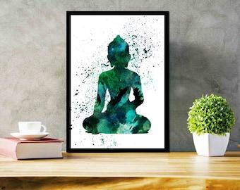 Yoga Poster Buddha Wall Art Printable Buddha Art Spiritual art  meditation gift Wedding gift