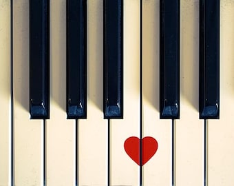 black and white photography vintage piano heart print 5x7 red valentines music fine art photography musical instrument romantic love