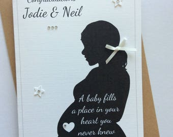 Personalised Handmade Pregnancy Silhouette Congratulations Card (Baby Shower, Having a Baby, Expecting)