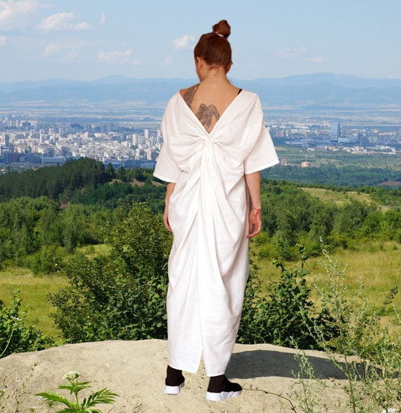 Maxi Linen Dress, Linen Caftan, Abaya, Open Back Summer White Dress, Oversized Loose Overall, Long Plus Size Dress, Cocoon Dress