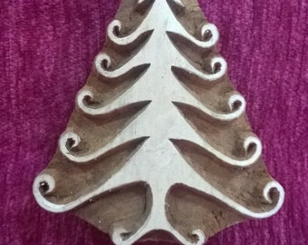 Christmas tree hand carved wood stamp pottery stamp wood printing block textile stamp, tjaps
