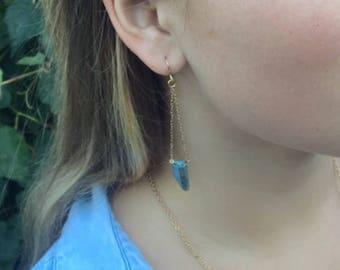 Aqua Aura Quartz Swing Earrings, Gold Drop Earrings, Dangle Earrings