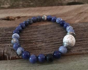 Boho healing bracelet, 6 mm beaded dodslite with lava bead, stress reduction