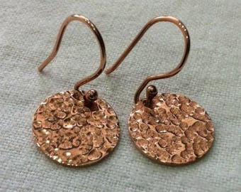 Rose Gold Disc Earrings