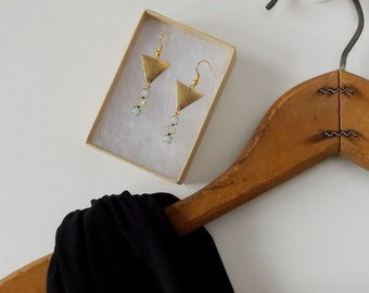 Mint and triangle drop earrings, mint glass stones and brass triangle, Swarovski rhinestones