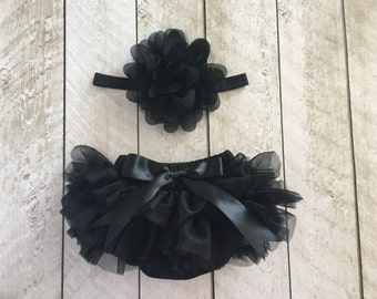 Baby Girl Ruffle Tutu Bloomer & Headband Set in Black - Newborn Photo Set - Cake Smash - Diaper Cover - Baby Gift - Birthday - Baby Gift