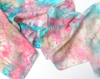 blue and pink silk scarf, hand dyed silk scarf, unique silk scarf pure silk scarf gift for her