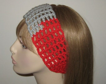 SALE Red and Grey Dread Headband