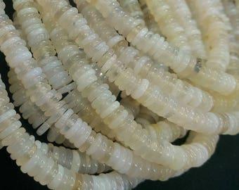 Natural White Agate Heishi Beads 2x7mm- 225pcs/strand