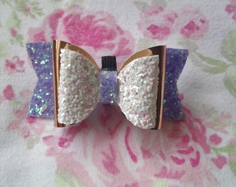 Violet and white Glitter dog bow 3'