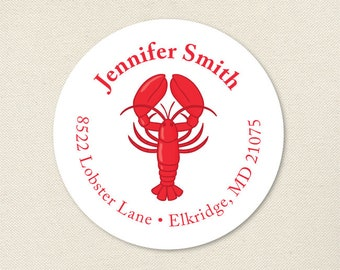 Lobster Address Labels - Lobster Birthday Party, Lobster Bake - Sheet of 24