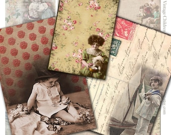 Backgrounds of Children with Dolls, Toys, and Pets Collage Sheet - ACEO Size - 2.5 x 3.5 Inches - Instant Download - Printable