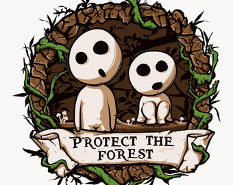 kodama tee shirt, kodama t-shirt, spirit forest tee, Princess Mononoke tee, Mononoke t-shirt, kodama Mononoke, Kodamas shirt