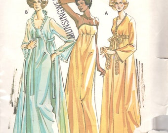 Kwik Sew 721 1970s  Misses Empire Waist Nightgown Robe Peignoir Pattern  Womens Vintage Sewing Patterns  Size S M L XL  Bust 32 - 45 Uncut