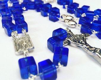 Catholic Rosary. Blue, Cobalt Blue. Square, glass, prayer beads, Rosary beads, Rosary necklace, catholic prayer beads, blue Rosary. Rosary