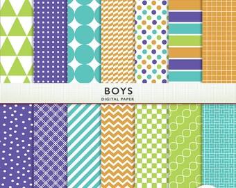 Digital Paper - Boys -  Blue Green Purple Orange  -Instant Download Cardstock P7151
