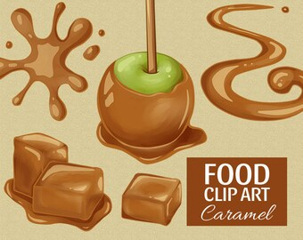 Caramel clip art | Candy - sauce - sweets - toffee - apple | Printable Digital File