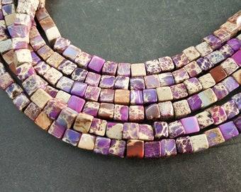 Purple Sea Sediment cube Beads small 4x4x4mm -small Purple stone Cube beads -90pcs/strand