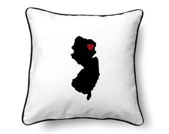 New Jersey Pillow - New Jersey Gift - New Jersey Map - NJ State Map