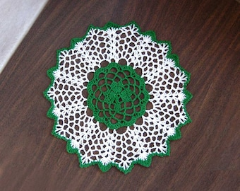 Green Shamrock Crochet Lace Doily, Irish Home Decor, Green and White Table Accessory, 9 Inch Doily