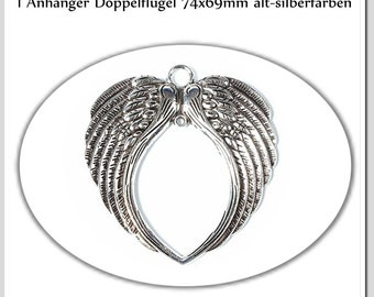 1 mega-large double wing old-silver colors 74 mm