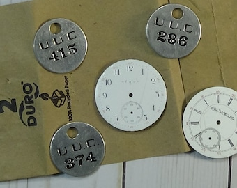 5 Pcs. Vintage Metal Pieces: 3 Number Tokens and 2 Watch Faces for your ART projects