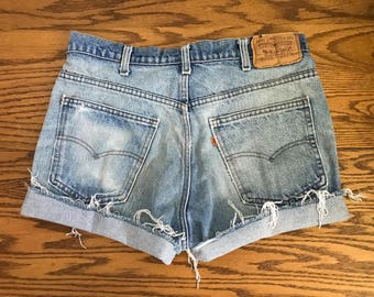 Levi's High Waisted Shorts Orange Tab Vintage Levis Cut Off Short Levi Shorts High Waist Denim Cutoffs Distressed Jean Size Medium 6 8 30 31