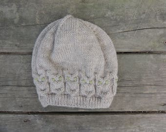 Cable Knit Owl Hat