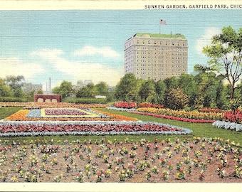 Postcard - Vintage Postcard - Chicago - Illinois - Garfield Park - Sunken Gardens - Unused (TT)