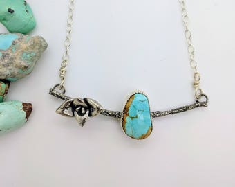 succulent turquoise twig necklace