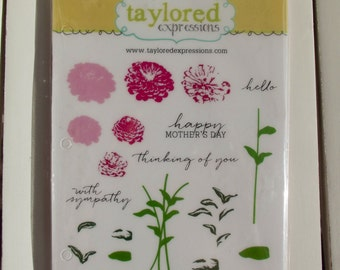 Simply Stamped Zinnias, Taylored Expressions, set of 19 stamps, for stamping, card making, scrapbooking, planners, art journaling, mixed med