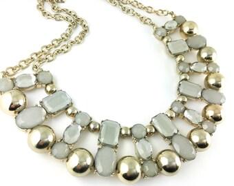Retro jewelry large rhinestones silver tone bridal wedding chunky  bib necklace
