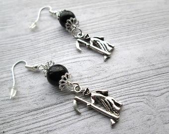 Grim Reaper Earrings, Geekery earrings, Geek earrings, Halloween earrings, Halloween jewelry, Halloween Jewellery, Death earrings, Reaping
