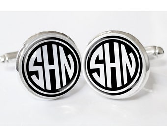 Gifts for Him - Monogrammed Cufflinks - personalized mens cufflinks - custom wedding cuff links - weddings-  mens accessories - mens gifts