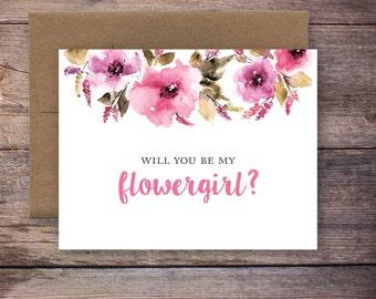 Printable Will You Be My Flower Girl Card - Instant Download Greeting Card - Will You Be My Flower Girl - Wedding Card – Brittney