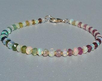 Opal Bracelet, Ethiopian Opal Bracelet, Tourmaline Bracelet, October Birthstone, Dainty Beaded Bracelet, Gemstone Bracelet