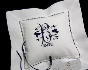 Ring Bearer Pillow Shamrock Monogram Wedding ring pillow Linen ring pillow Irish wedding ring bearer pillow jfyBride Style 5210