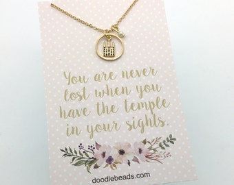 LDS Temple Necklace Silver or Gold Salt Lake Mormon Temple Necklace - choose carded or in a silver gift box