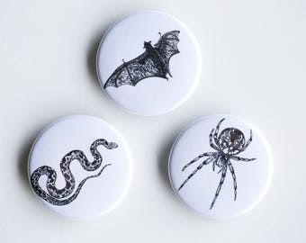 "Snake, Bat, Spider Magnets - Creepy Kids Set of Strong Magnets - 1.5"" - Fridge Magnets - Animal Magnet Animal Decor Woodland kitchen"