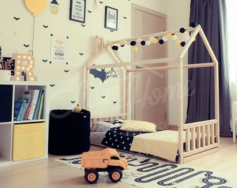 House bed FULL or QUEEN, wooden bed, gift, girls room, toddler room bunk bed floor bed pikler furniture baby bed nursery crib montessori bed