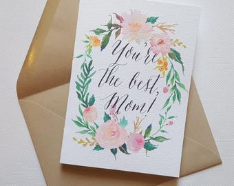 You're the Best, Mom! - Mother's Day Single Thank You Card with Matching Envelope