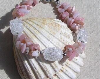 """Pink Opal and Crackled Clear Quartz Crystal-Gemstone Bracelet""""Candy Dew"""", Opal Bracelet, Pink Bracelet, Chakra Bracelet, Quartz Bracelet"""