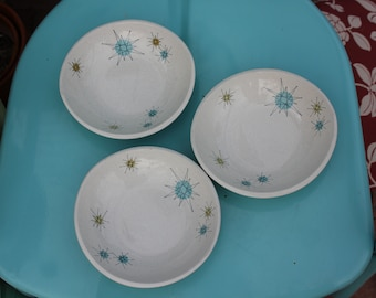 1954 - 1966 Franciscan STARBURST - Set of Three ( 3 ) Cereal Bowls - 7 1/8 inches - Great to Excellent Condition