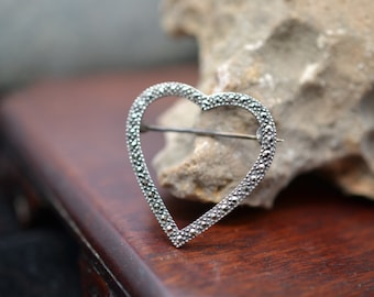 Vintage Sterling Silver Marcasite Opend Heart Brooch Pin