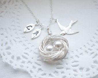 Mother's Day Gift | Personalized Handmade Birds Nest Necklace | Sterling Silver | Hand Stamped Initial Leaves | Protective Mama Bird