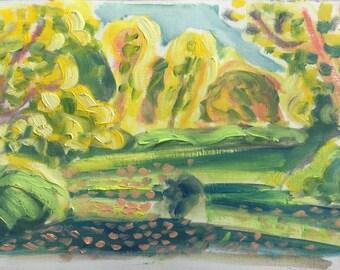 Gelb, Oktober, Herbst 2017, ORIGINAL Öl auf festem Papier Landschaftsmalerei von Shirley Kanyon, 8.7x13.6 Zoll, 22x34.5 cm